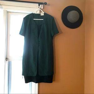 MISS DORKY vintage green plaid dress